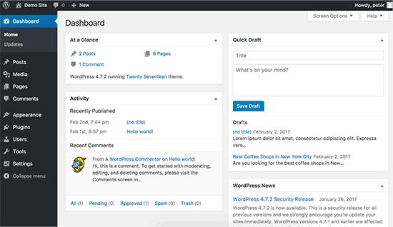 Default WordPress dashboard