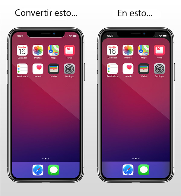 Cómo eliminar el 'notch' del iPhone X