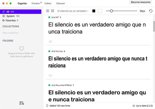FontBase, app para visualizar y organizar todas las fuentes instaladas