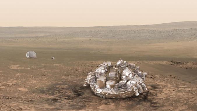 Recreación de cómo debería haber quedado Schiaparelli si su aterrizaje hubiera ido bien. La imagen real, todavía no disponible, es una nave estrellada en el suelo marciano./ ESA