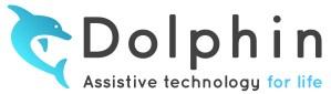Logo Dolphin Assistive Technology com o golfinho