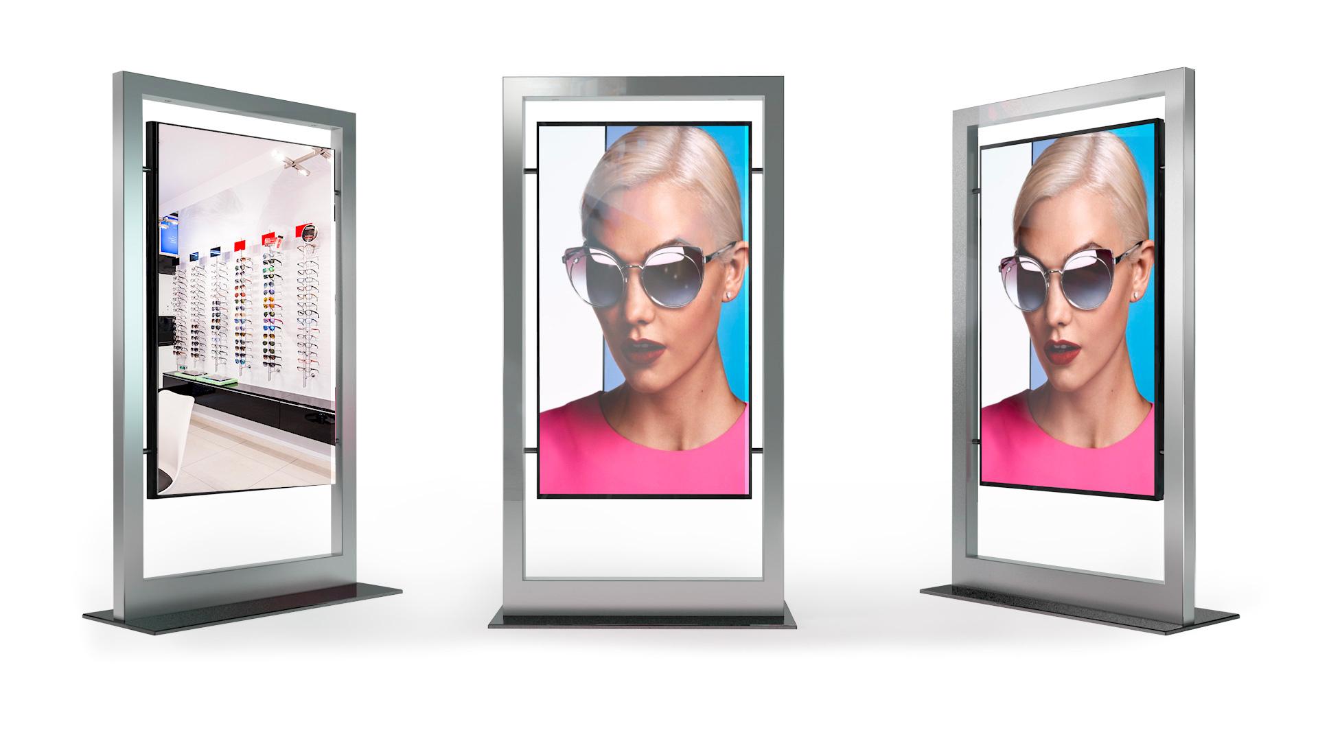 Totem da vetrina schermo LCD ad alta luminosità con design a frame