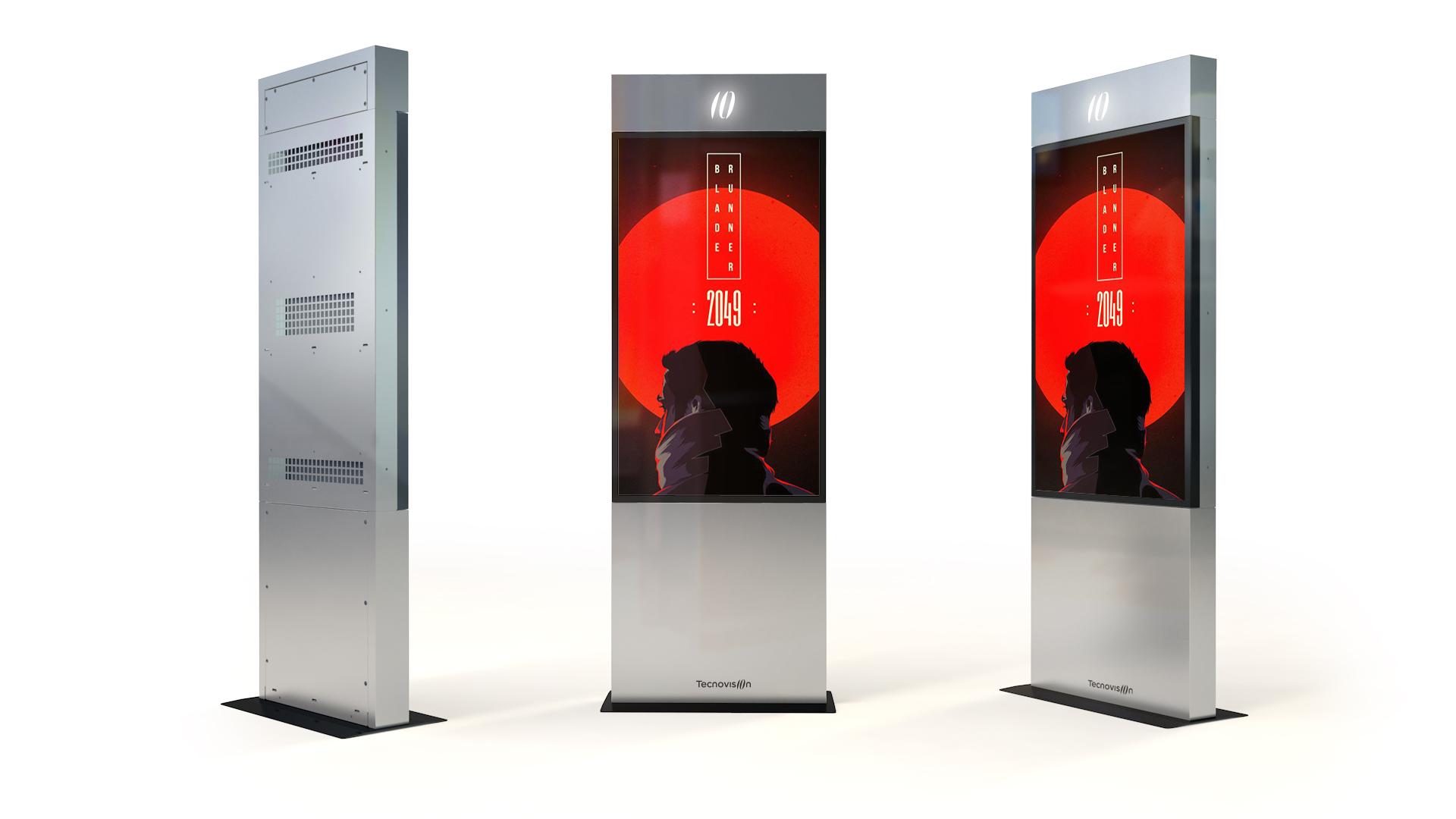 Totem outdoor schermo LCD alta luminosità high brightness cristallo protettivo anti vandalico IK10