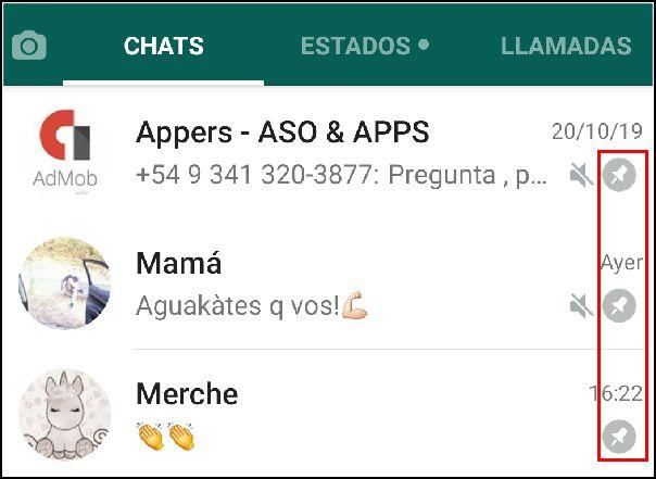 Límite chats fijados WhatsApp