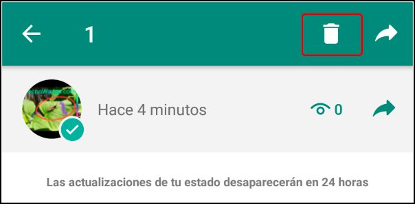 eliminar estado de WhatsApp