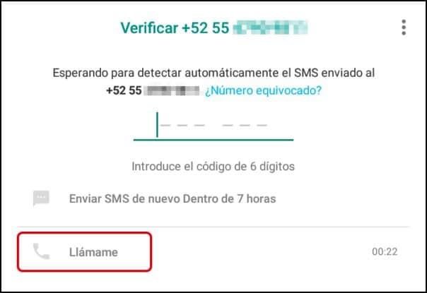 llamada de verificación de WhatsApp