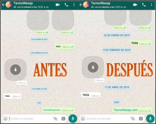 Antes y después letra WhatsApp