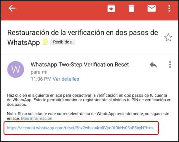 restaurar verificacion en dos pasos a través del correo