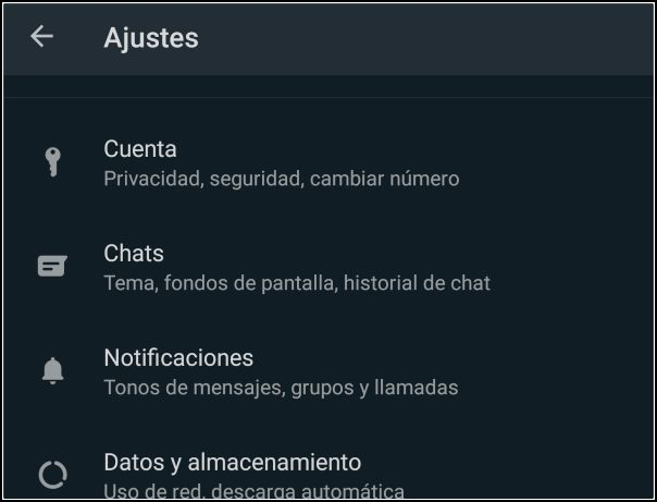 ajustes WhatsApp