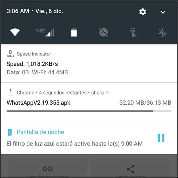 Progreso del APK de WhatsApp