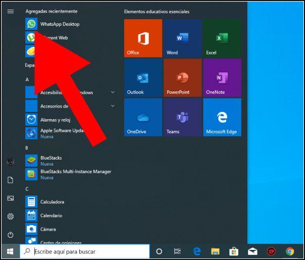 WhatsApp Desktop desde el menú de inicio de Windows