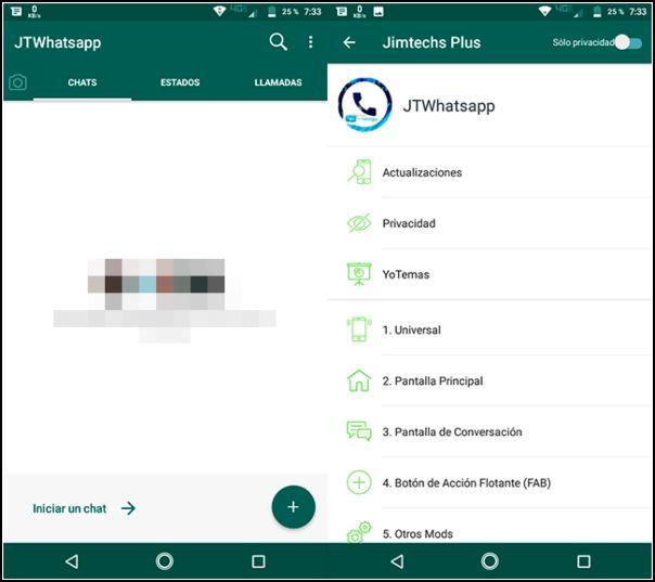 aspecto de WhatsApp Plus JiMODs