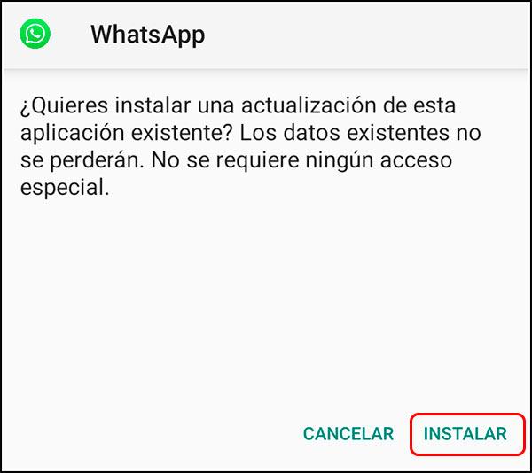 Botón instalar yxwhatsapp