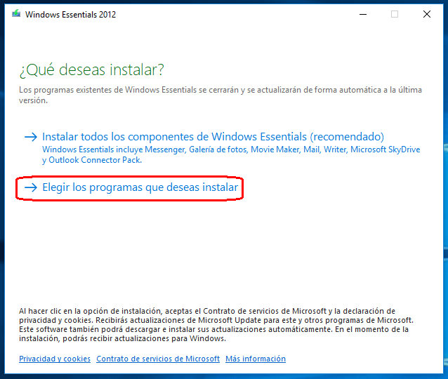 instalar windows essentials 2012