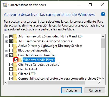 Cómo desinstalar Windows Media Player en Windows 10