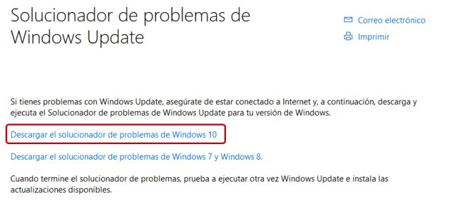 Usar el solucionador de problemas Windows Update