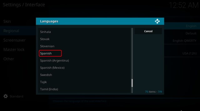 Cambiar el idioma de Kodi