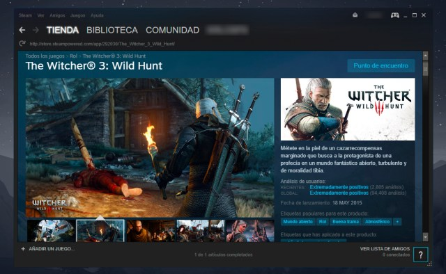 The Witcher 3 en Steam