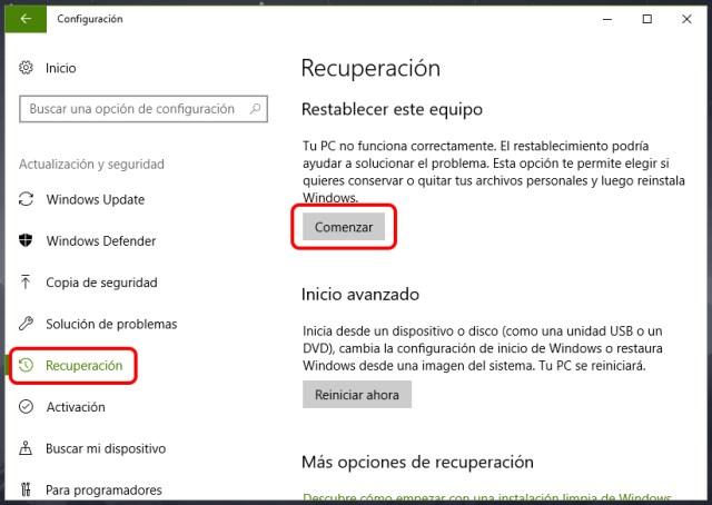 Reinstalar o restablecer Windows 10