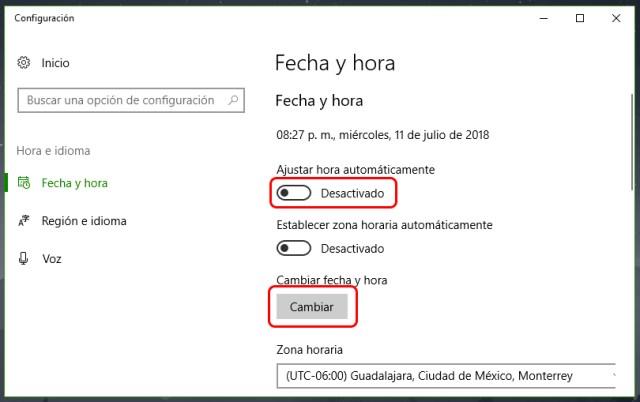 Fecha y hora incorrectas en Windows 10: Solución