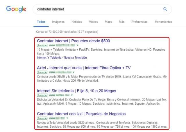 Publicidad en motores de búsqueda