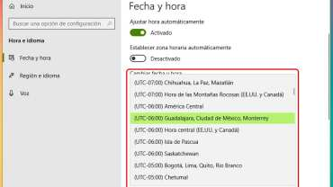 Cómo cambiar la zona horaria en Windows 10