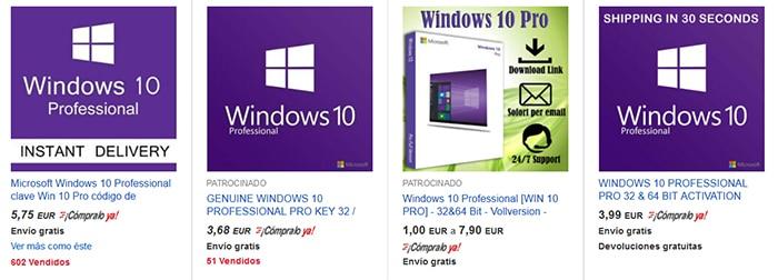 Precio Windows 10 en eBay