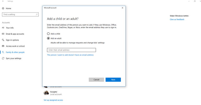 Add Another User to Windows 10
