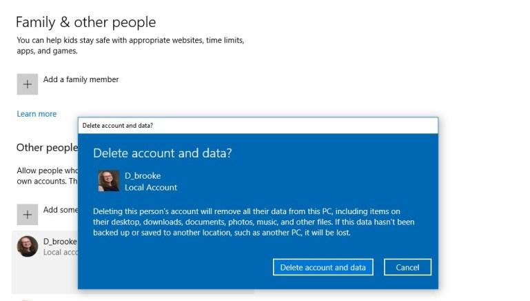 delete windows 10 account