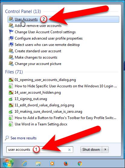 User account Windows 10