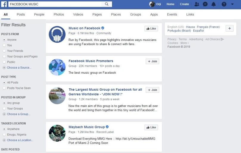 Facebook Music Groups