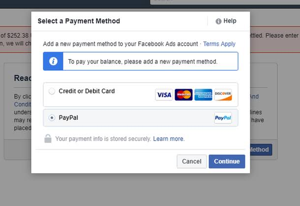 Facebook Paypal Payment Method