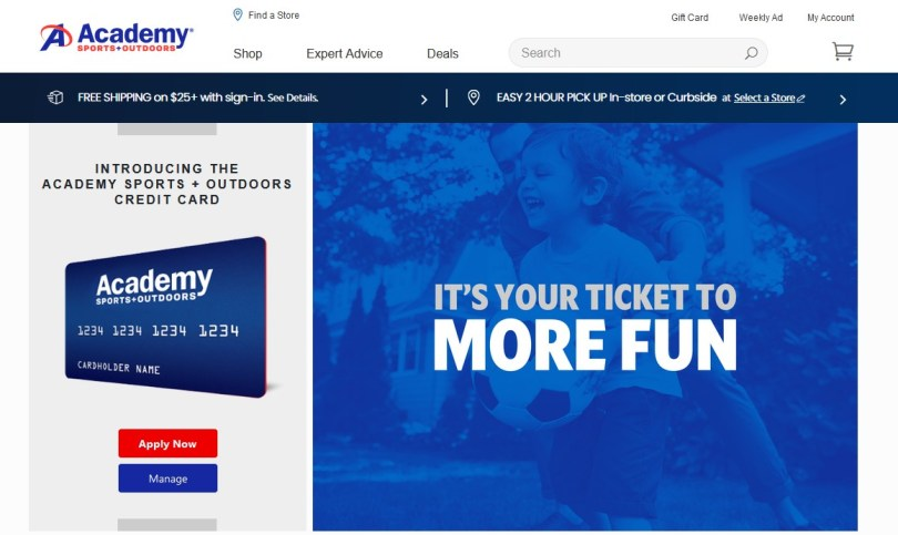 academy sports online credit card application