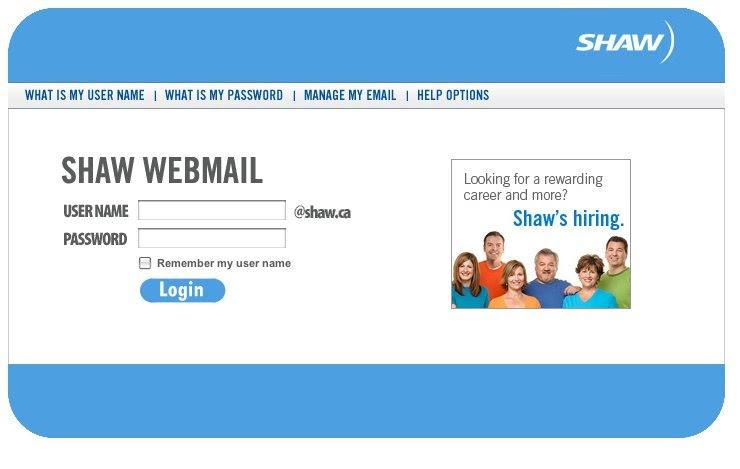 Shaw webmail login page