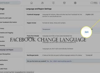 Facebook Change Language