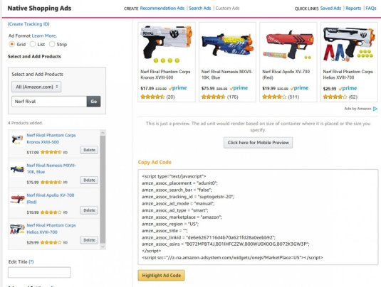 how to install Amazon Native Ads Code