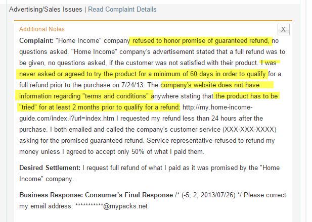 Home Profit System Complaints