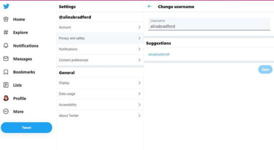 How to change the twitter handle
