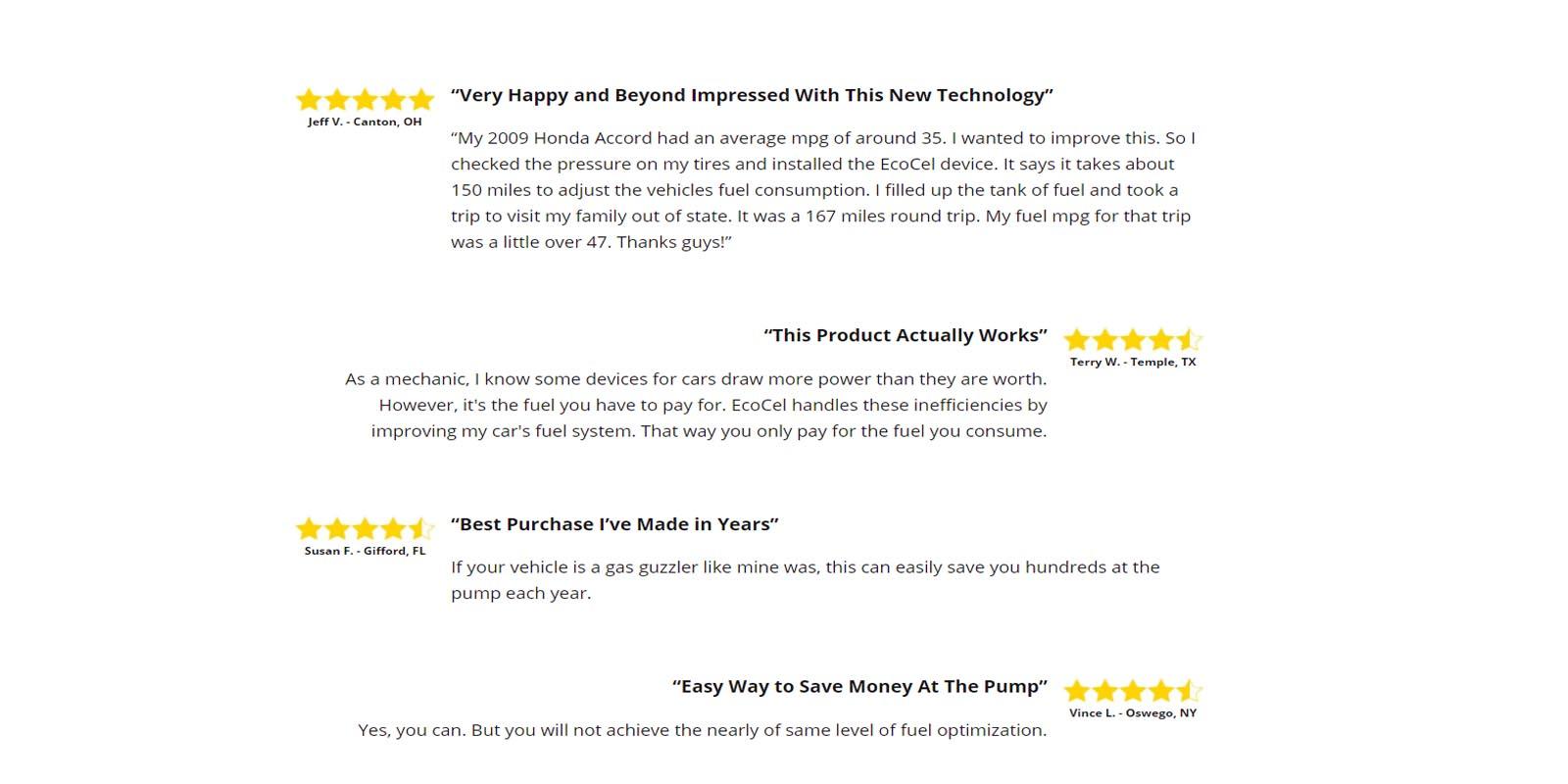 Ecocel Customer Reviews