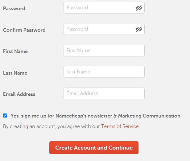 Namecheap registration step 3