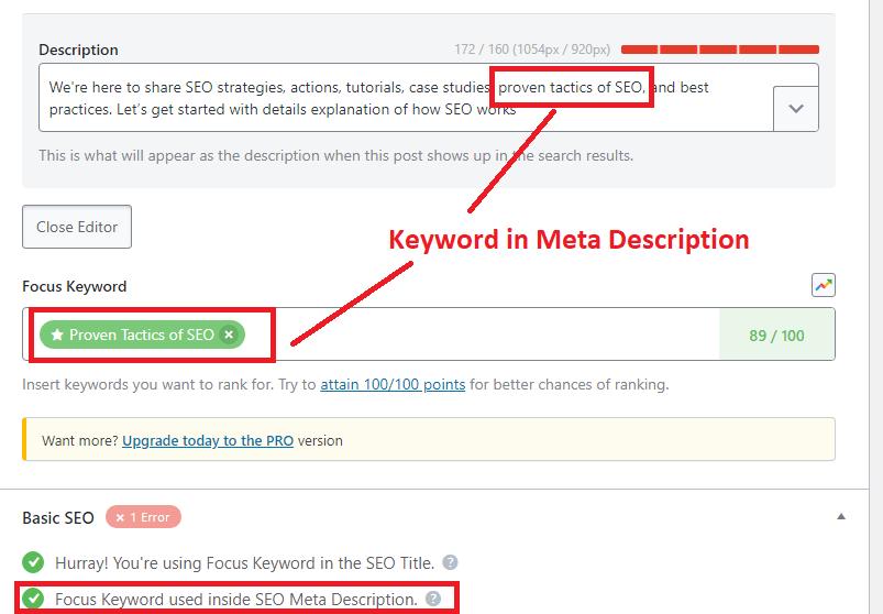 keyword in meta description 1