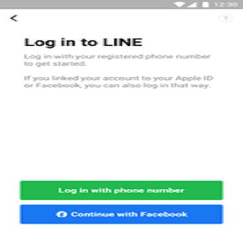 LINE app sign up with facebook
