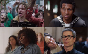 Clockwise: Austin P. McKenzie as Cleve Jones, Jonathan Majors as Ken Jones, Guy Pierce as Cleve Jones and Mary Louise Parker as Roma Guy, and Whoopi Goldberg as Pat Norman
