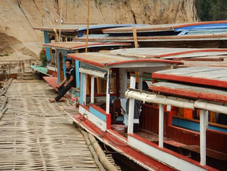 LGV159  laos luang prabang boats pak ou caves copy