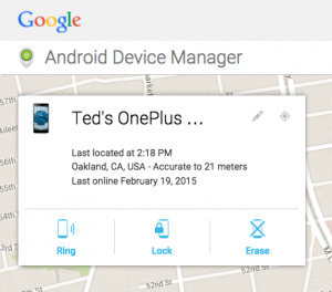 Ted's OnePlus -- safe and sound in Oakland