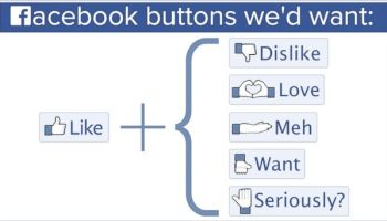 Facebook Buttons we'd want: Like + Dislike, Love, Meh, Want, Seriously?!?