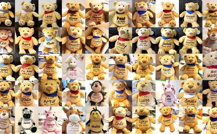 Teddys und Kuscheltiere individuell bestickt