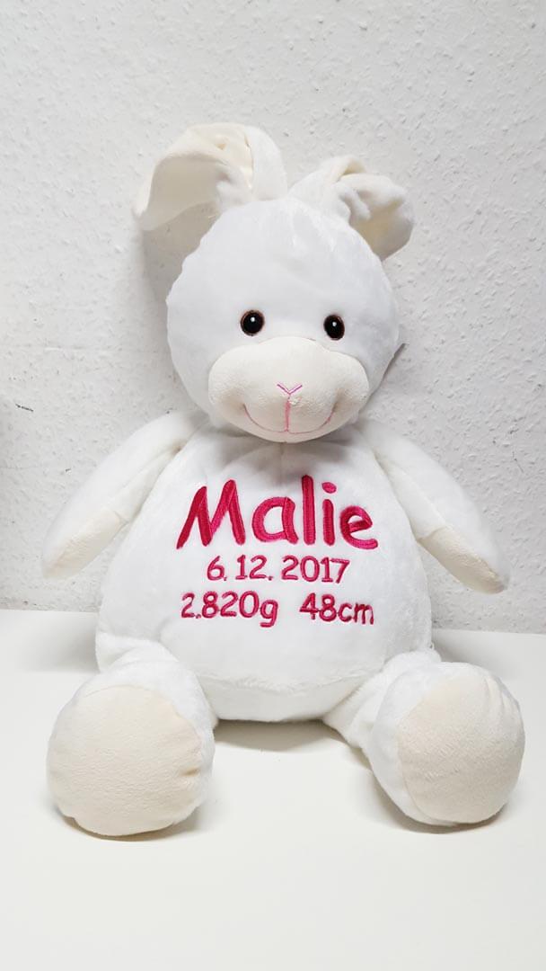 Plüschtier Kaninchen mit Name und Geburtsdaten
