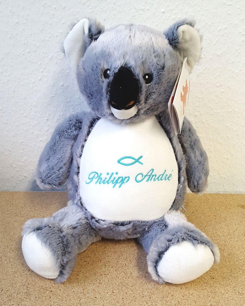 Plüschtier Koala mit Namen und Taufsymbol Fisch