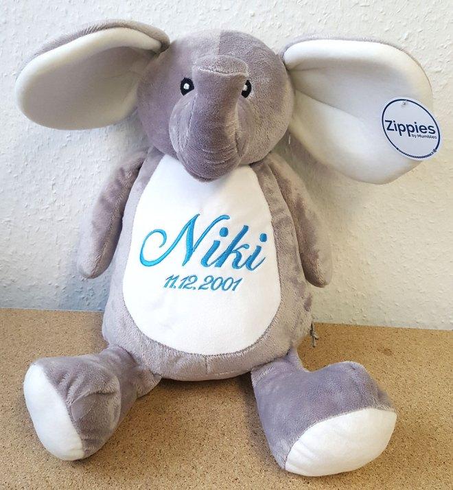 Elefant mit Namen und Geburtsdatum